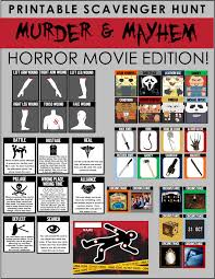 Halloween Scavenger Hunt Riddles by Horror Movie Party Game Printable Horror Flick Trivia Treasure Hunt