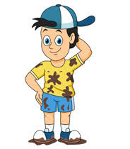 Boy Wearing Hat With Muddly Clothes Clipart Size 83 Kb