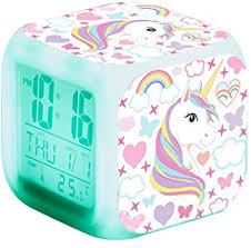 weiqiao digitaler wecker einhorn für mädchen nachtlicht led cube zeit temperatur nachttischle für kinder damen geschenk schlafzimmer