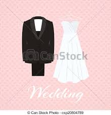 Suit Beside Wedding Dress Pink Background Vector