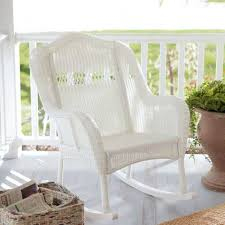 Indoor/Outdoor Patio Porch White Resin Wicker Rocking Chair Q280-WICDW1488 Resin Wicker Porch Rockers Easy Care Rocker Charleston Rocking Chair Camel Back Chairs Set Of Two White Summer Outdoor Belwood With Floral Cushions 3pc Cushion And End Table Faux Book Pocket Coral Coast With Khaki The Portside Plantation All Weather Tortuga