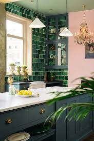 A Green Tile Wall Looks Nice With Grey Cabinets And Adds Cool Bright Touch To
