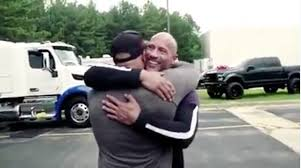 100 Highest Paid Truck Drivers Dwayne The Rock Johnson Surprises Stunt Double Tanoai Reed With