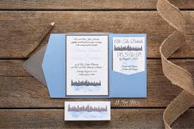 Rustic Watercolor Wedding Invitation With Lake Pine Trees And A Pocketfold