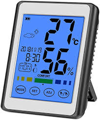 choelf thermometer hygrometer digitales innen aussen mit uhr zimmerthermometer digital wetterstation temperatur und luftfeuchtigkeit mit