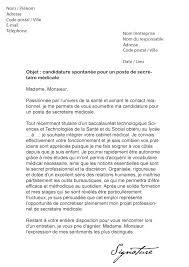 lettre de motivation secrétaire médicale modèle de lettre