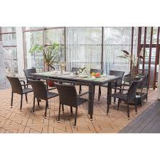 9 Piece Patio Dining Set Walmart by Roche Dark Brown 9 Piece Wicker Extendable Dining Set Outdoor