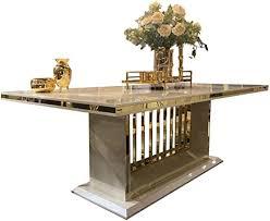 casa padrino esstisch mit glasplatte grau gold 220 x 110 x h