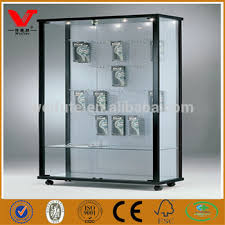 new arrival glass wall showcase cabinets with pegboard hooks