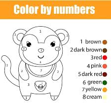 Monkey Pictures To Color And Download Coloring Page With By Numbers Educational Children Game Drawing Kids Activity Produce Cool Printable
