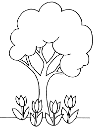 Coloring Page Is A Good Pattern Or Template Of Tree And Flowers