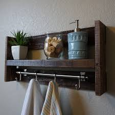 Modern Rustic 3 Tier Bathroom Shelf With 18 Satin Nickel Finish Towel Bar