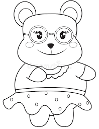 Download Bear With Eyeglasses Coloring Page Stock Illustration