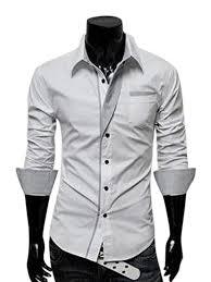 men stylish fit slim long sleeve casual stitch shirt business