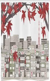 abakuhaus duschvorhang badezimmer deko set aus stoff mit haken breite 120 cm höhe 180 cm tokyo japanische stadt panorama kaufen otto