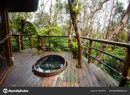 100 Tree Houses With Hot Tubs Hawaii Rainforest House Detail Stock Photo