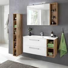 details zu badezimmer badmöbel set weiß eiche landhaus unterschrank led spiegel midischrank
