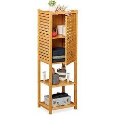 relaxdays badregal aus bambus 5 böden mit tür stehend bad küche schmales badmöbel hxbxt 113 x 35 x 29 cm natur 1 stück