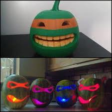 Tmnt Pumpkin Pattern Free by Cool Half Painted U0026 Half Carved Ninja Turtle Pumpkin And Ninja