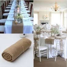30CM 10M Natural Jute Burlap Fabric Roll For Country Party
