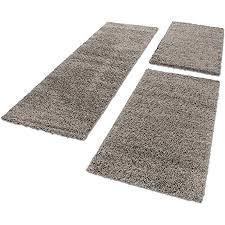unbekannt shaggy hochflor teppich carpet 3tlg bettumrandung läufer set schlafzimmer flur farbe taupe bettset 2x60x110 1x80x150