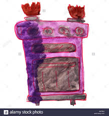 Watercolor Drawing Kids Cartoon Gas Stove On A White Background