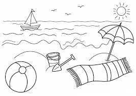 Beach View Coloring Page Frequent