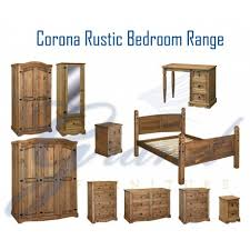 Corona Rustic Dark Wooden Bedroom Furniture Sets