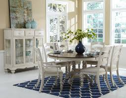 Round Dining Room Sets 7 piece round dining table set with ladder back side and arm