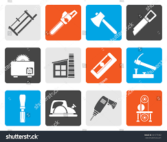 Flat Woodworking Industry And Tools Icons