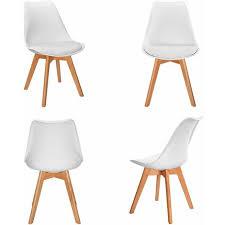 vadim 4er set esszimmerstühle mit massivholz buche bein retro design gepolsterter stuhl küchenstuhl holz weiß