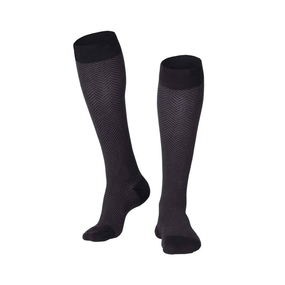Touch 1021, Men's Compression Socks, Knee High, Herringbone Pattern, 20-30 mmHg, Medium