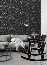 tapete blumenmuster im skandinavischen stil schwarz grau beige und rosa