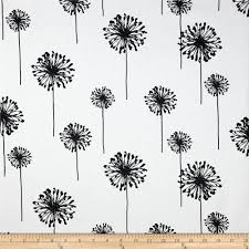 Curtain Fabric By The Yard by Premier Prints Dandelion White Black Discount Designer Fabric