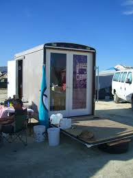 Our Neighbor Converted A Toy Hauler Into Tiny Shelter With French Doors Cargo TrailersUtility TrailerCamping