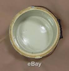 Eagle With Shield Blue & White Butter Crock Stoneware Pottery Salt