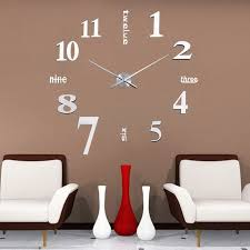 Fashion 1 PC DIY Large 3D Wall Clock Mirror Sticker Home Decor 5 Colors