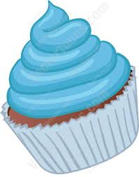 blue cartoon cupcakes with frosting clipart