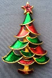 Vintage Christmas Tree Brooch USA