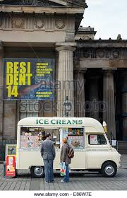 Tow People Next To A Vintage Bedford Ice Cream Van The Mound Edinburgh