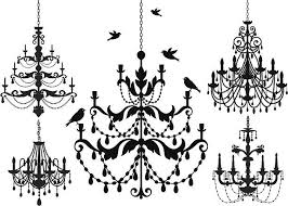 Chandelier Silhouette Icon Set Vector Art Illustration