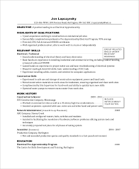 Electrician Apprentice Resume Example