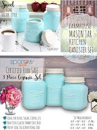 Turquoise Kitchen Canister Sets by Amazon Com Mason Jar Kitchen Canister Set Set Of 3 Kitchen