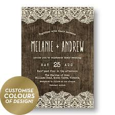 Rustic Wedding Invitations Australia Wood Lace