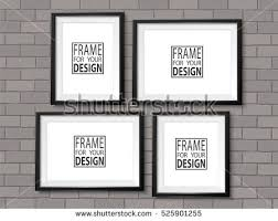 Frames Gallery On Grey Brick Wall Black Photo Mock Up Empty Framing For