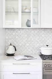 White Kitchen Tiles Ideas Marble Fan Shaped Tiles Modern Kitchen Backsplash