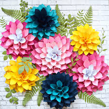 How To Make Giant Paper Dahlias Flower Templates DIY Dahlia Flowers