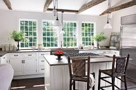 Colorful Kitchens Grey Quartz Countertops White Cabinets
