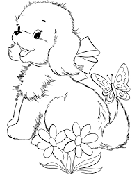 Puppies Coloring Pages With Flowers And Butterfly