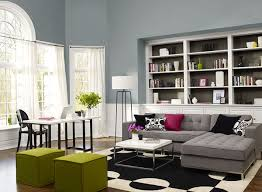 Living Room Painted In A Blue Gray Color Combination